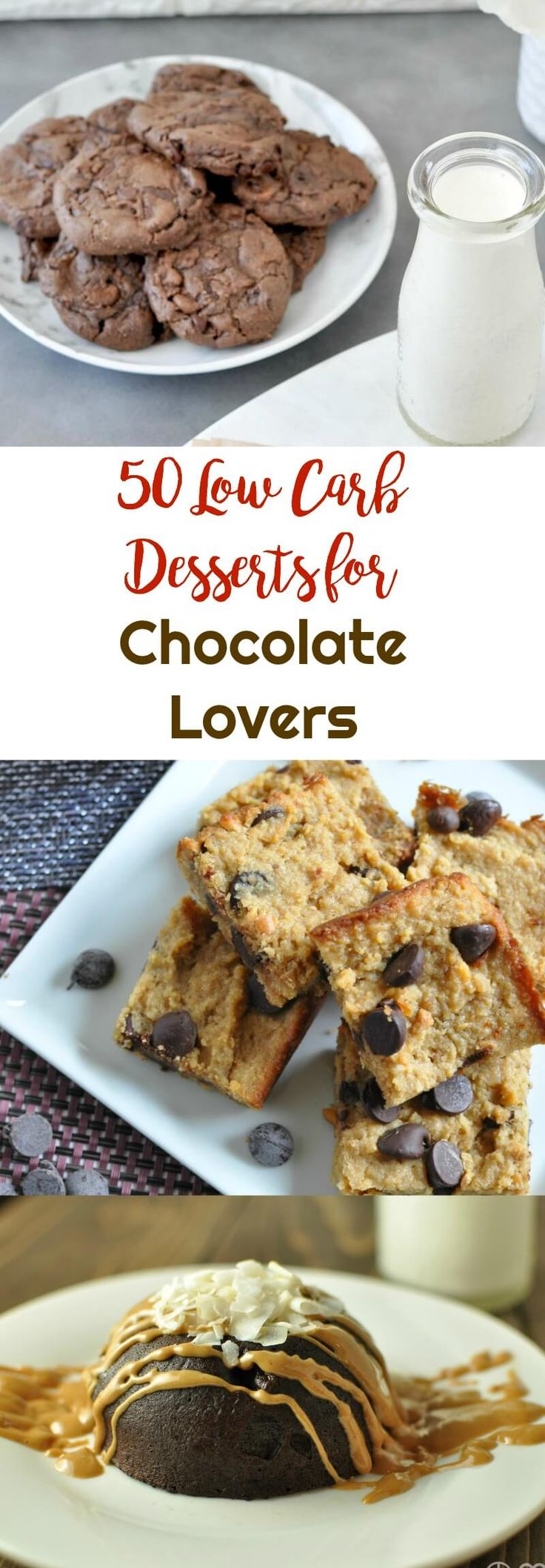 50 Low Carb Desserts for Chocolate Lovers | Peace Love and Low Carb via @peaceloveandlocarb