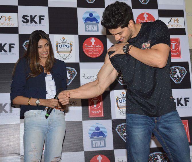 Sooraj Pancholi and Athiya Shetty promoting 'Hero' at Usha Pravin Gandhi College of Management. #Bollywood #Hero #Fashion #Style #Beauty #Handsome #Fitness #Muscles