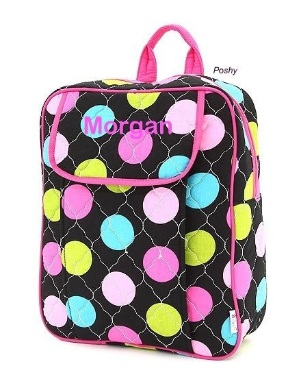 Personalized Kids Backpacks in Bright Polka Dots  by PoshyKids, $28.00