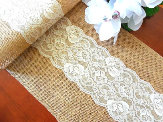 Burlap table runner wedding table runner with ivory lace rustic chic table decor on Etsy, $20.00