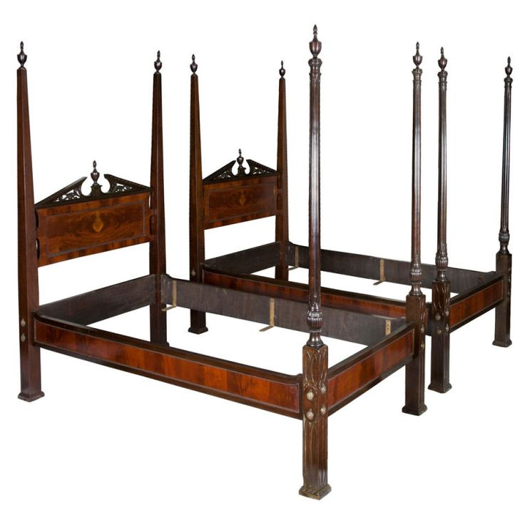 Pair of Mahogany Chippendale Style Gothic Beds, England ca. 1840 | From a unique collection of antique and modern beds at http://www.1stdibs.com/furniture/more-furniture-collectibles/beds/