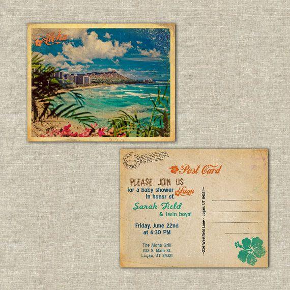 retro postcards, hawaiian luau invitations postcards, hawaiian, wedding rehearsal dinner, bridal shower, baby shower on Etsy, $70.00