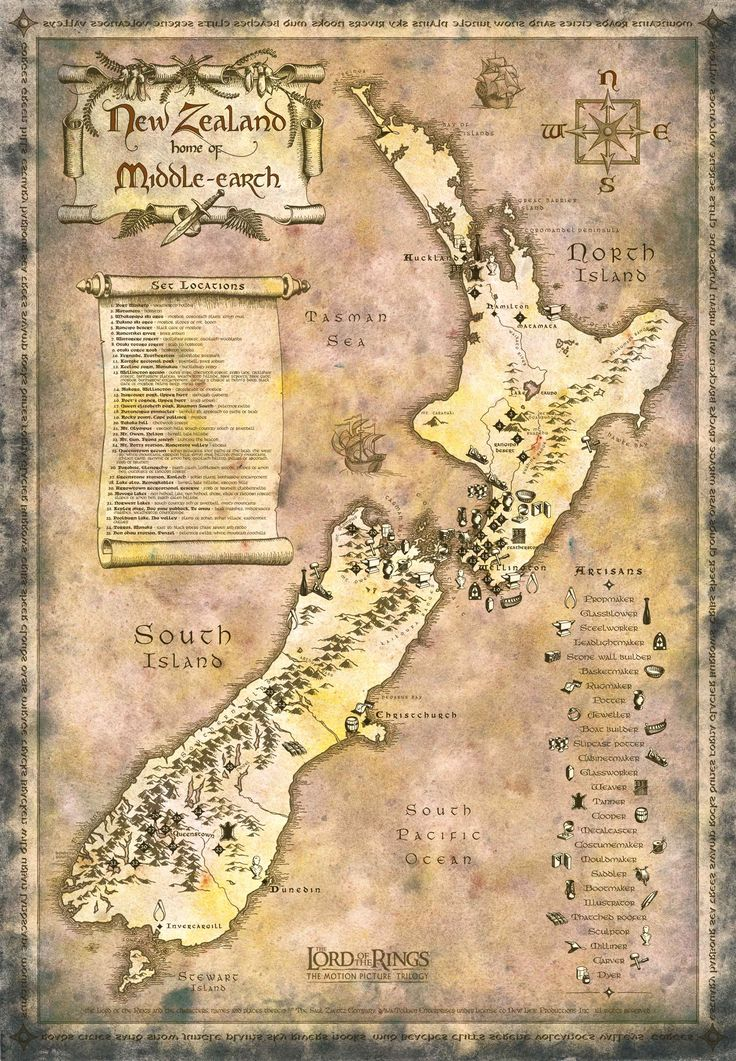 New Zealand Map LOTR style contains detailed set locations for tourists. Perfect!!