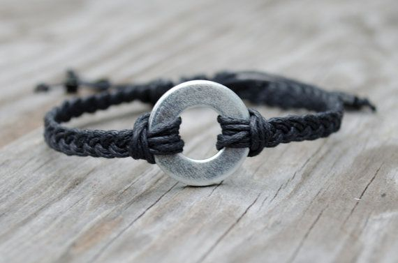 Unisex Washer Bracelet, Industrial Bracelet, Adjustable Mens Bracelet, Black Braided Bracelet, Hardware Bracelet, Silver Mens Bracelet on Etsy, $12.54