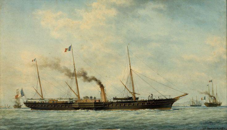 """""""L'Aigle, yacht impérial"""", peint en 1878 par François Geffroy Roux, 1811-1882)~ Selon la loi du genre, celui du """" portrait de navire """", la corvette à vapeur l'Aigle est vue par son travers tribord. Elle quitte le port de Marseille dont on aperçoit les digues à l'arrière-plan à gauche. L'artiste a ajouté de chaque côté du yacht, au second plan, une vue de ce même navire, l'une sur l'avant du travers, l'autre depuis l'arrière sous un angle similaire selon une pratique courante instaurée dès le…"""
