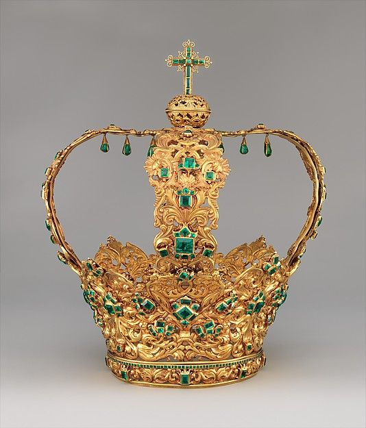 Crown of the Virgin of the Immaculate Conception, known as the Crown of the Andes, ca. 1660-1770, Columbia. Gold, repoussé and chased; emeralds. The Metropolitan Museum of Art, New York. Purchase, Lila Acheson Wallace Gift, Acquisitions Fund and Mary Trumbull Adams Fund, 2015 (2015.437). #crown #jewelry