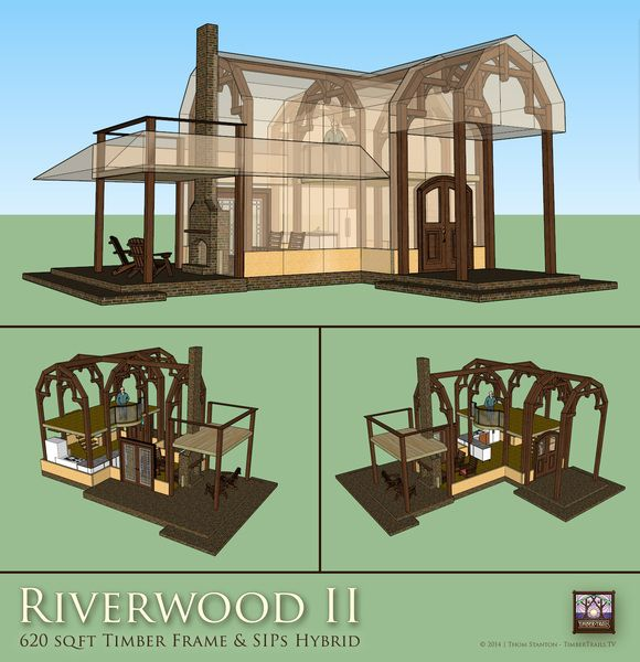 Timber frame and sips tiny house with gambrel roof by for Sips cabin