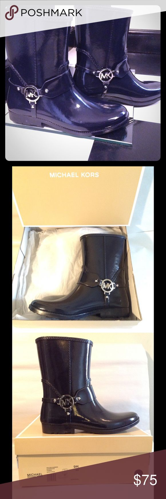 Mickeal Kors Harness Logo Rain Boots( Rainy Days) Michael michael Kors featured in the harness design with chrome MK logo on each side of the ankle. These boots slide on easily, they are water proof cute and comfortable, featured in admiral blue color. Boots  can be worn for rain or everyday styling even snow, statement boots. MICHAEL Michael Kors Shoes Winter & Rain Boots