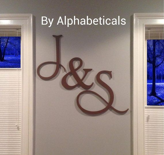 His and hers wooden letters wall decor wooden signs wall letters wooden initial monogram script - Wood letter wall decor ...