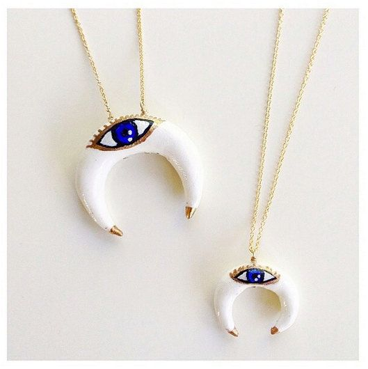 Evil Eye Double Horn Necklace MadelynJadeDesigns