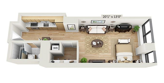 Studio Apartment Floor Plans 3d - Home Design Ideas