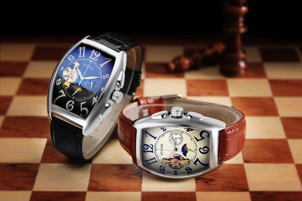 SEWOR Rectangle Luxury Leather Mechanical Analog Men Wrist Watch
