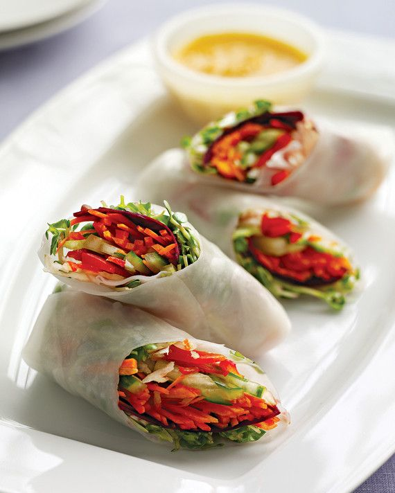 Roll up red bell pepper, beets, carrot, daikon, cucumber, and radish sprouts in…