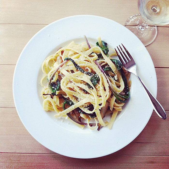 Spaghetti (or Linguine) with Ramps (serves 2)  recipe from Mario Batali    coarse salt  1/2 pound dry spaghetti or linguine  extra-virgin olive oil  1 bunch fresh ramps, white root ends and green leafy tops separated  crushed red pepper flakes to taste  dry breadcrumbs (I used Panko)