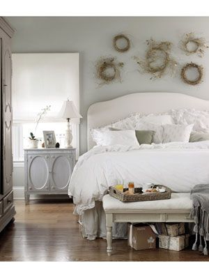 Pale, Peaceful Bedroom, love the bedding, and the nightstand.. the paint color is nice, too. #countryliving #dreambedroom: Wall Colors, Wall Decor, Dreams, Shabby Chic, Master Bedrooms, White Bedrooms, Wreaths, Bedrooms Ideas, Paintings Colour