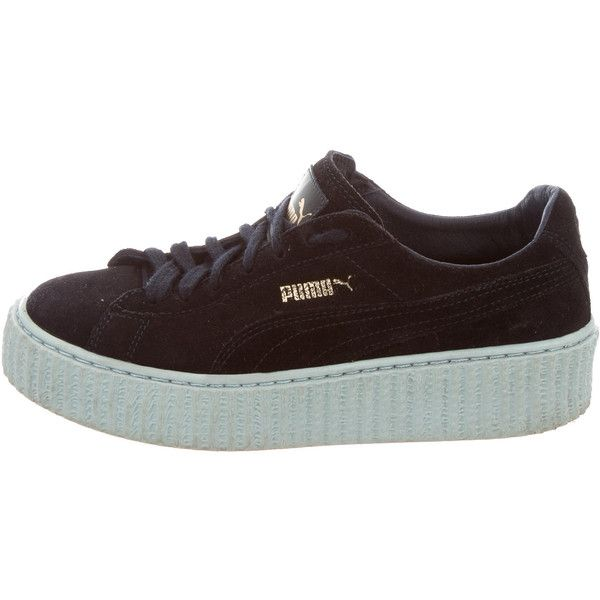 Pre-owned Rihanna Fenty x Puma Suede Creeper Sneakers ($95) ❤ liked on Polyvore featuring shoes, sneakers, blue, navy sneakers, laced sneakers, lace up sneakers, lace up shoes and navy shoes