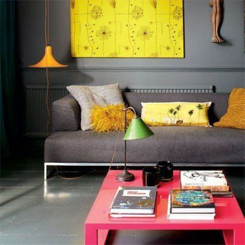 Amazing 32 Neon Home Décor Ideas : Amazing 32 Neon Home Décor Ideas With Grey Sofa And Red Table And Wooden Floor Design