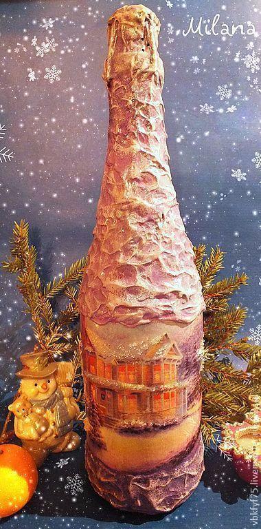 бутылка, бутылка декупаж, шампанское, шампанское декупаж, новогоднее шампанское, оригинальная бутылка, подарочное шампанское, шампанское в подарок, шампанское на новый год