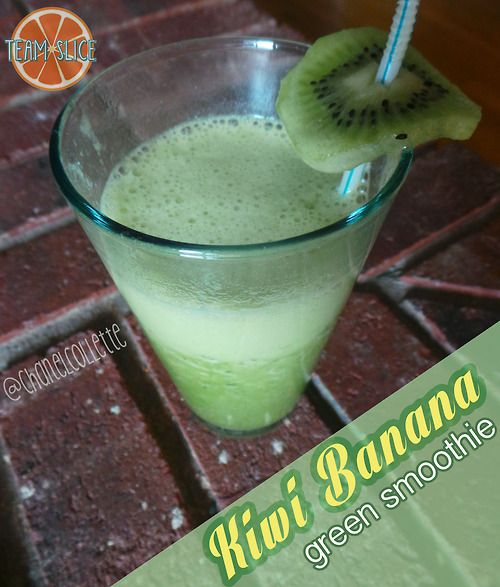 Kiwi Banana Green Smoothie - delicious shake with spinach added! Fool the kids on this one!  and for more recipes follow www.facebook.com/chanelcolletteteamslice