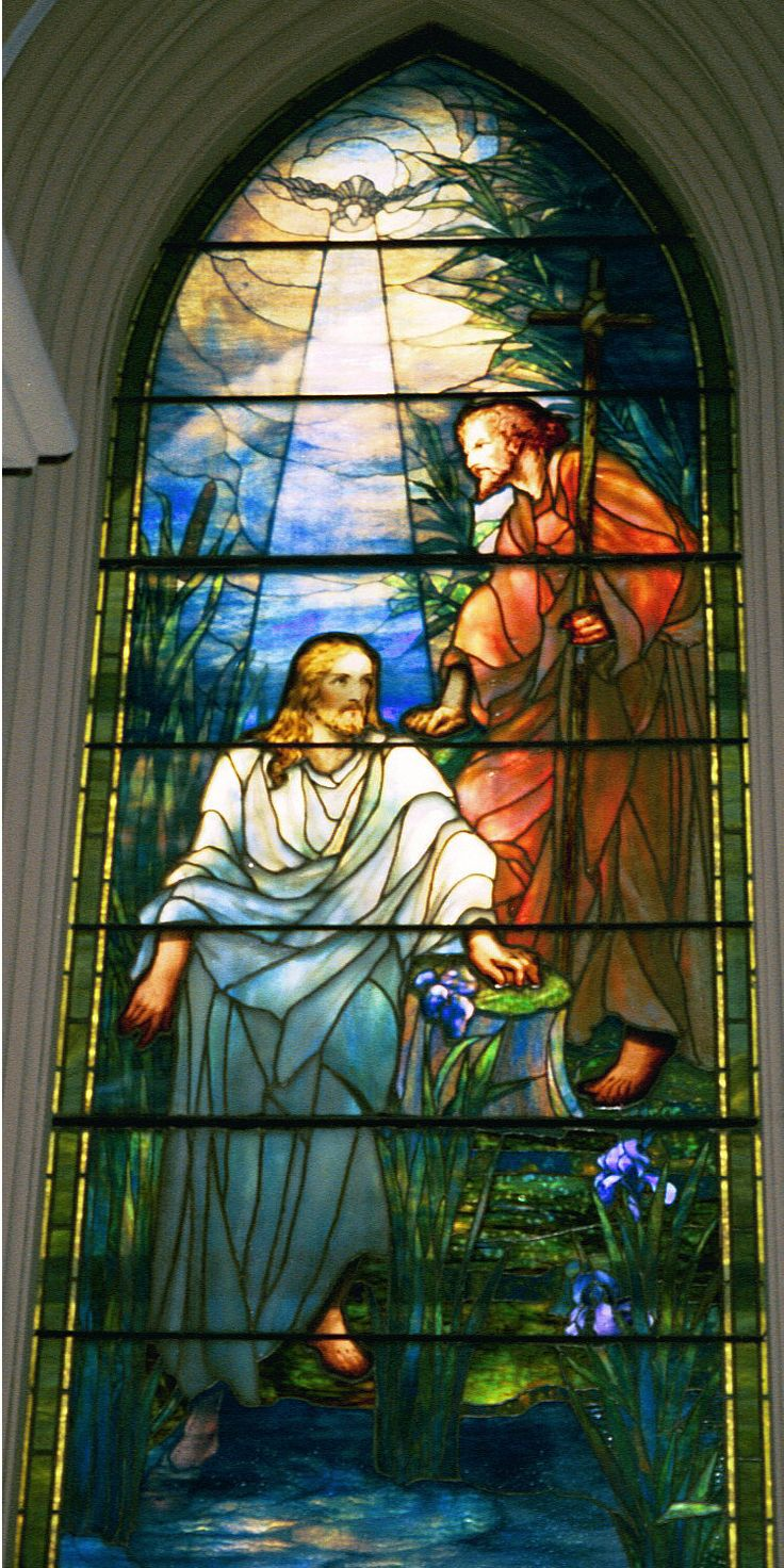 The Baptism of Christ, by Louis Comfort Tiffany  Stained glass window at Brown Memorial Presbyterian Church,  Baltimore