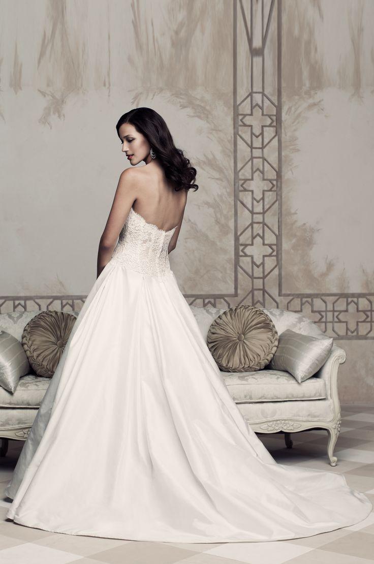 French alen on lace and silk dupioni wedding dress back for Silk shantung wedding dress