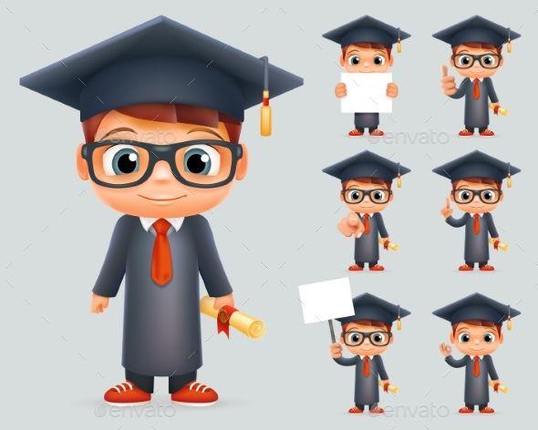Graduation Cap Excellent Diploma Certificate Student Scroll Genius School Clever Smart Boy Uniform Suit Goggles 3d Character Vecto