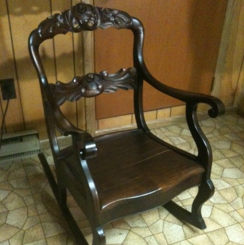 Antique Rocking Chair Heavily Carved Back Rails See 12 Pics For Size Ship  CONUS | EBay