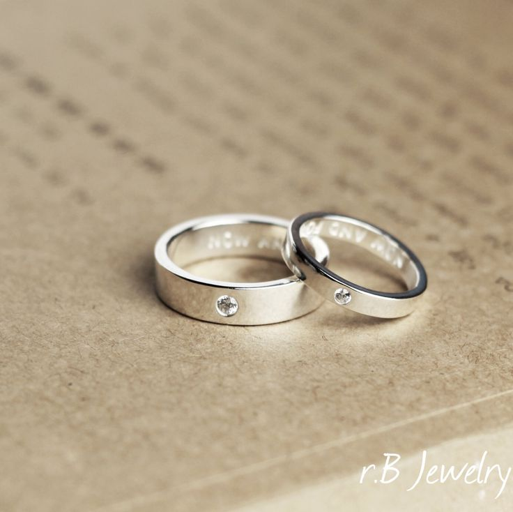Matching Promise Rings, His and Her, Anniversary Gift, Gift For Couples, Promise Rings, Couples Ring, Couples Rings Set, Personalized by JewelryRB on Etsy https://www.etsy.com/listing/266172480/matching-promise-rings-his-and-her