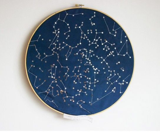 Constellations of the Northern Hemisphere Wall hanging. from littlebrightstudio's etsy shop: Metallic sequin stars are embroidered on dark navy blue taffeta to create the constellations.