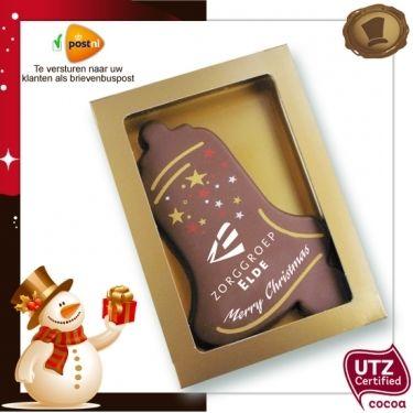 Kerstklok met uw logo 150 gram  Smaak / Melk of Pure chocolade  Verpakking In de kleur rood, wit of goud. Te bestellen vanaf 200 stuks. #chocolade #kerst #geschenk