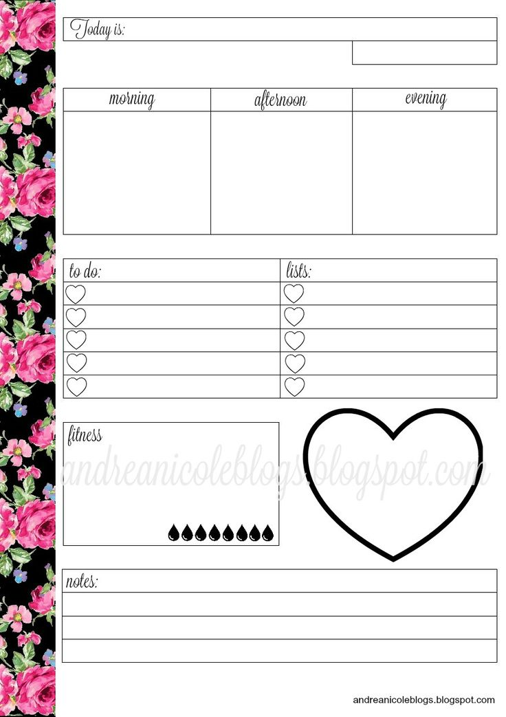 Free planner printable andrea nicole crazy for for Make a planner online free