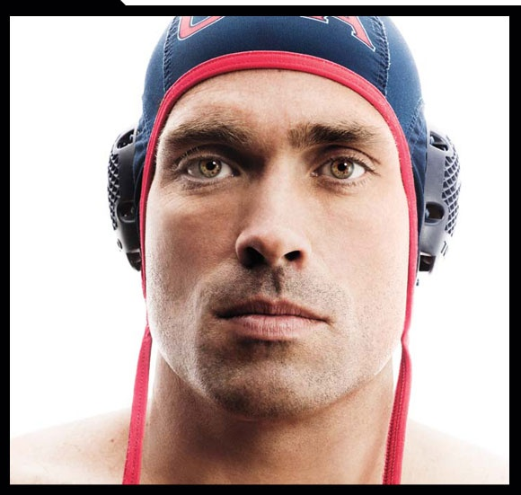 Ryan Bailey of the USA Men's Water Polo Team.  Thank you for showing us your gold eyes, you handsome Olympic god!