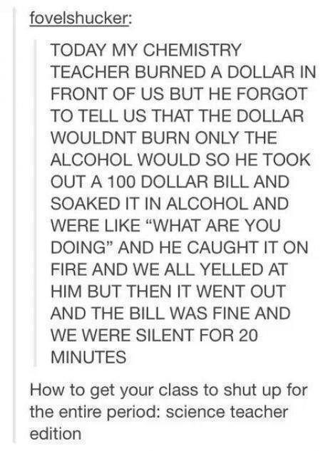 Woah... Science teachers are fearless