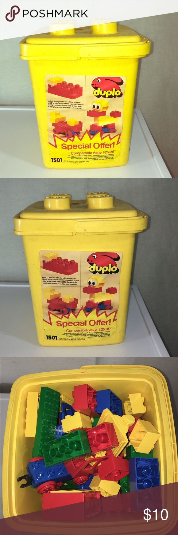 Large Lego Bucket An older Lego bucket that is in great condition and contains its original pieces, including train pieces. A great toy at a great price! Lego Other