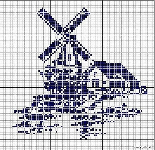 Windmill and house cross stitch chart