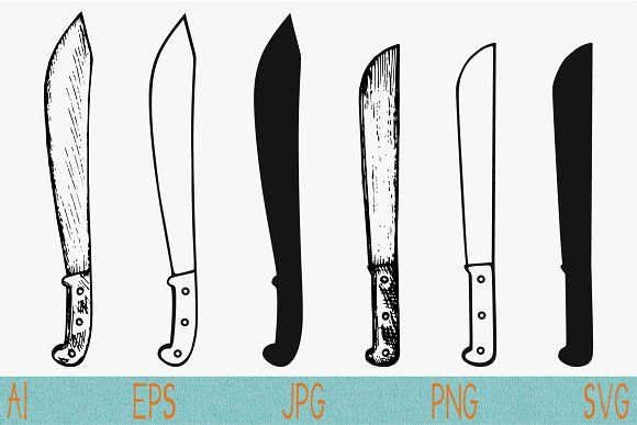 Machete Knife Set Vector Svg Png Brass Knuckle Tattoo Machete Knife Vector Svg