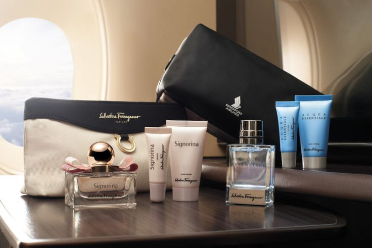 Singapore Airlines took first place in a recent Airline Amenity Bag Awards. Those award-winning bags are designed by Ferragamo—a black and white clutch for women (which is the bag that actually won the award) and a black PVC bag for the men—are well-stocked with designer toiletries, too. Women get goodies from Signorina, including a one-ounce bottle of eaude toilette, and men get ACQUA Essenziale cologne, moisturizer, and lip balm.