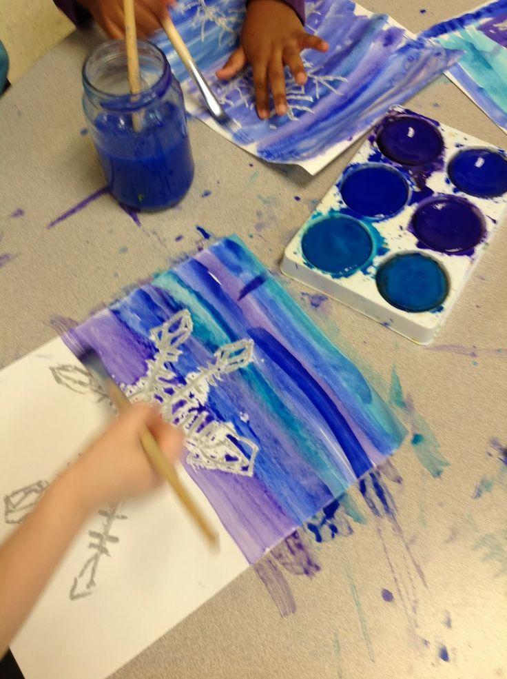 snowflake resist - kindergarten assessment on vertical, horizontal, diagonal line and geometric shape