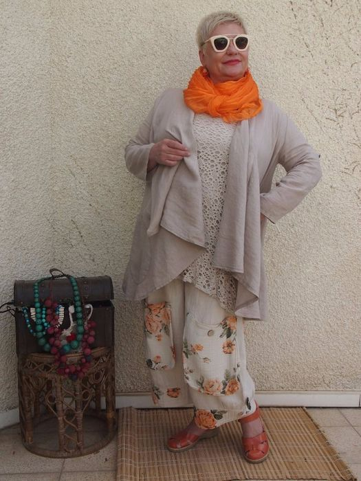 ADORABLE FLORAL PANTS, LACE TUNIC, JACKET WITH A BRIGHT POP OF ORANGE