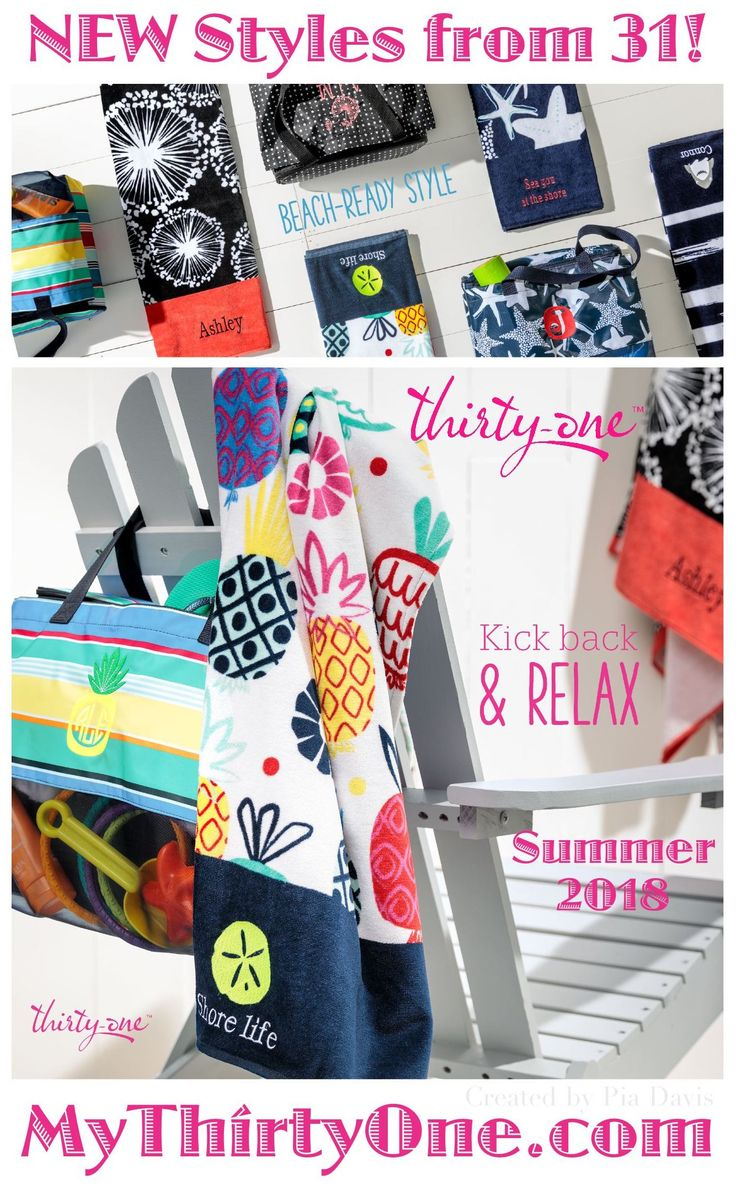 #31 APRIL 2018 Thirty-One offers fashionable beach towels and road trip-ready thermal bag. And this month we're also debuting Baby by Thirty-One, a new collection of functional diaper bags and nursery essentials to make the parenting journey easier. April only, Customers can get up to TWO exclusive Summer Days Towels or the new Sand N' Shore Thermal Tote for $15 US each with every $35 US spent. Check it out at MyThirtyOne.com/PiaDavis starting April 2nd.