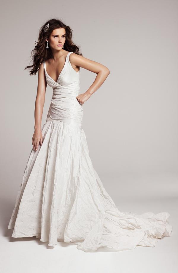 Nicole Miller Textured Metallic Trumpet Gown #Nordstrom #weddings