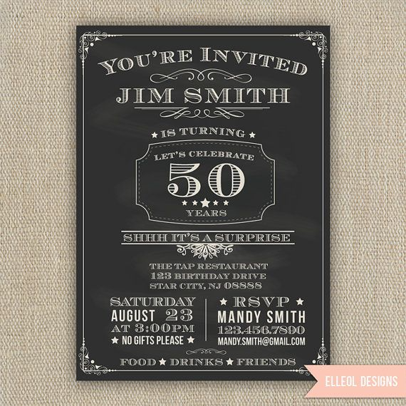 21st, 30th, 40th, 50th, 60th Surprise Birthday Party Invitation - chalkboard style - any age - printed or DIY on Etsy, $16.00