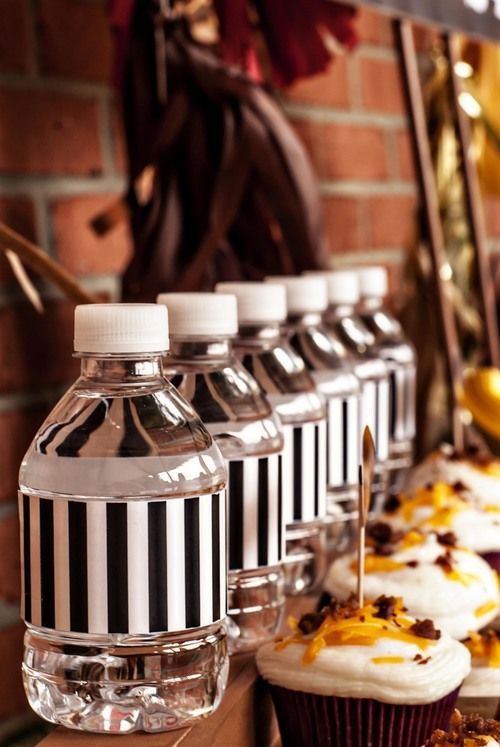 referee bottle wraps for a Football Themed Party #footballpartyideas #drinkwraps #footballpartymenu