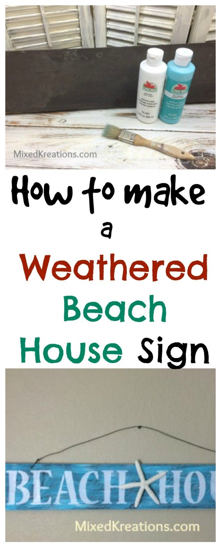 How to make a weathered beach house sign diy weathered beach sign diy beachy home decor beachsign weatheredbeachsign diybeachdecor mixedkreations com