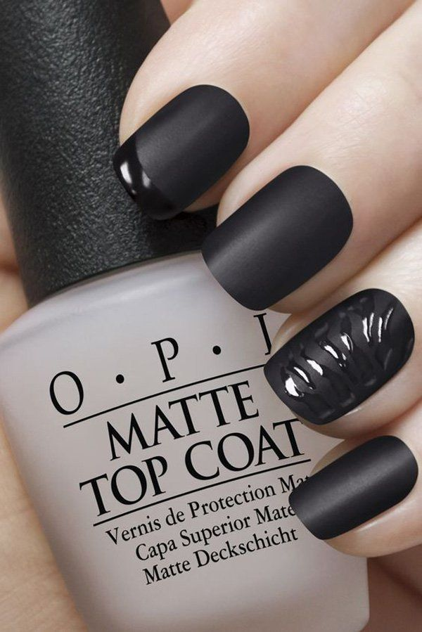 This is almost the same with the black glossy nail polish as French tips. This one, however, takes the accent on the point finger (French tip) and the ring finger (curves).