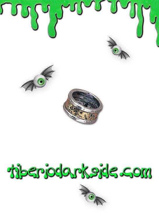DR. VON ROSESTEIN'S INDUCTION PRINCIPLE RING  Anillo de la colección Steampunk de Alchemy Gothic. Una reproducción del auténtico anillo del doctor Von Rosenstein, la clave indispensable para la matriz de inducción. Anillo bicolor, peltre palteado y estaño. Material: peltre inglés (aleación de estaño y cobre).  TALLAS: N, Q, T, W, Y  N - Diámetro 17 mm (PEQUEÑO) Q - Diámetro 18 mm (MEDIANO) T - Diámetro 19 mm (GRANDE) W - Diámetro 20 mm (MUY GRANDE) Y - Diámetro 21 mm (EXTRA GRANDE)    DE LA…