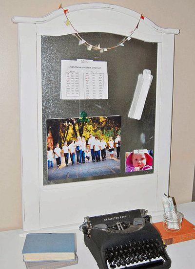 Repurposed crib as a magnet board