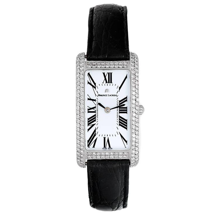 Maurice Lacroix Lady's White Gold Diamond Fiaba Quartz Wristwatch | From a unique collection of vintage wrist watches at https://www.1stdibs.com/jewelry/watches/wrist-watches/