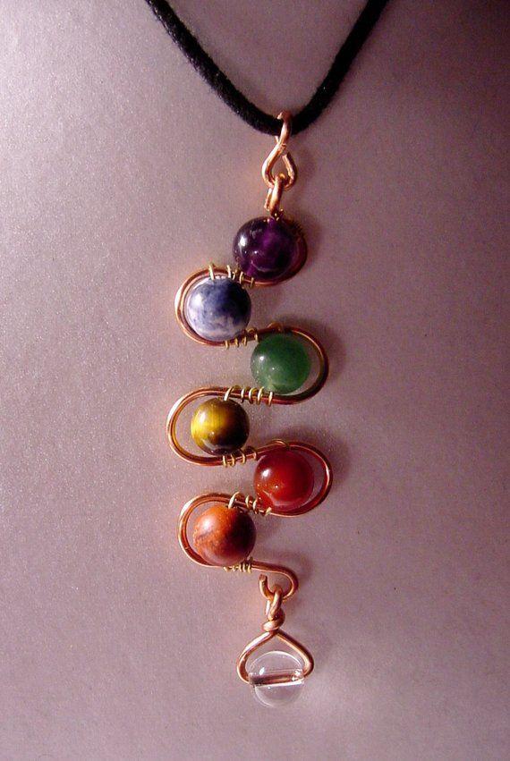 Best Seller – 7 Chakra Pendant Copper Wire Wrap Semi Precious, Balance, Harmonize Energy Centers, Reiki Jewelry, Yoga Jewelry