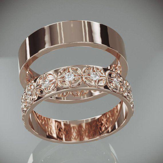14k Rose Gold Celtic Flower Wedding Rings Set With Diamonds His